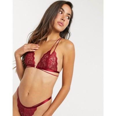 エイソス ASOS DESIGN レディース ブラジャーのみ インナー・下着 Kacia lace triangle bra with front fastening in red レッド