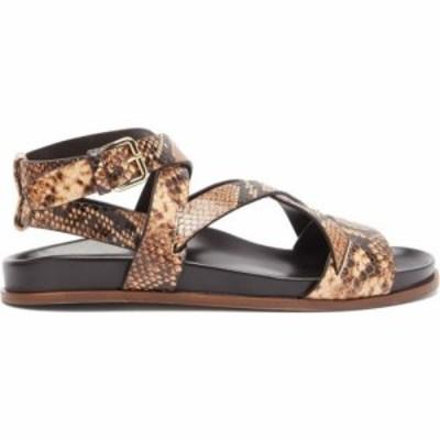 エマパーソンズ Emme Parsons レディース サンダル・ミュール シューズ・靴 Bodhi python-print leather crossover sandals Brown