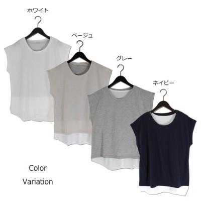 天竺Tシャツxシャツ付きタンクアンサンブル(ベージュ×F)