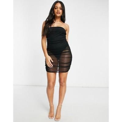フェム リュクス レディース ワンピース トップス Femme Luxe bandeau sheer mini dress with under bodysuit in black