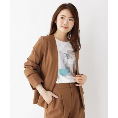 ジャケット ノーカラージャケット 【洗濯機OK】コットン(綿)混カラーレスジャケット(セットアップ対応)