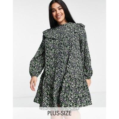 シンプリー ビー レディース ワンピース トップス Simply Be smock dress with ruffle detail in floral print