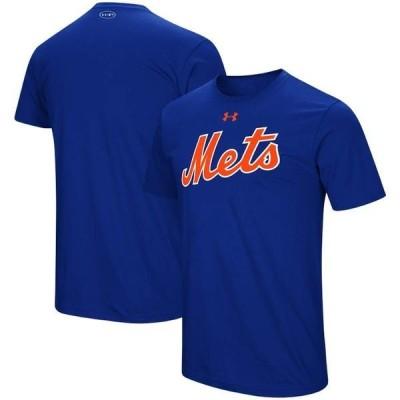 アンダーアーマー メンズ Tシャツ トップス New York Mets Under Armour Wordmark Core Performance T-Shirt