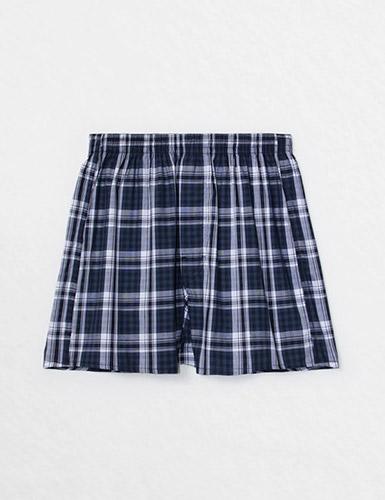 (男款)格紋控.平織舒適四角內褲(深藍/藍/白格)