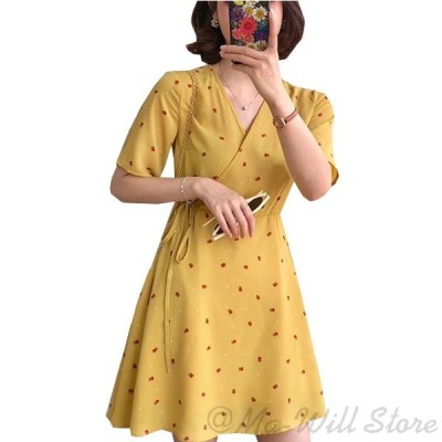 ワンピース レディース ドレス 半袖 ショート ミニ Aライン 花柄 シフォン Vネック ベルト
