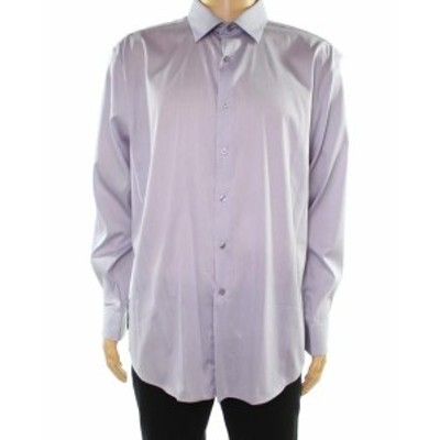 Alfani  ファッション ドレス Alfani Mens Dress Shirt Purple Size Large L 16-16 1/2 Athletic Fit