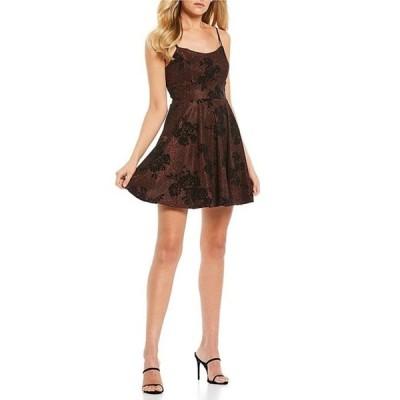 ティーズミー レディース ワンピース トップス Spaghetti Strap Glitter Floral Flocked Fit-and-Flare Dress