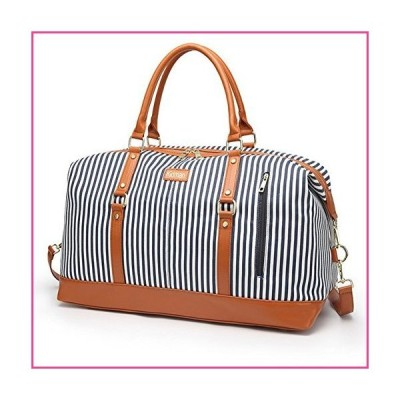 Overnight Bag for Women Canvas Weekend Travel Bag Ladies Duffle Tote Bags PU Leather Trim並行輸入品