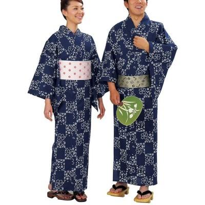 浴衣 ゆかた レディース メンズ キング幅 盆踊り 祭り ユカタ 踊り イベント レトロ浴衣 市松 桜