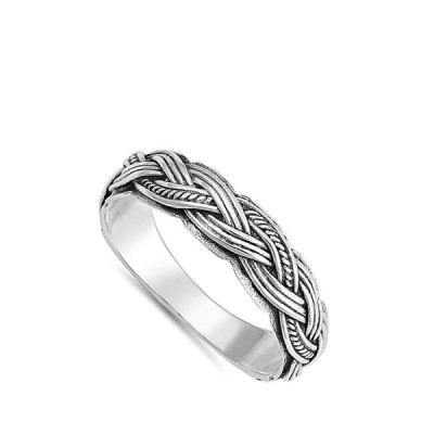 Weave Braided Criss Cross Thumb Ring New .925 Sterling Silver Band Siz