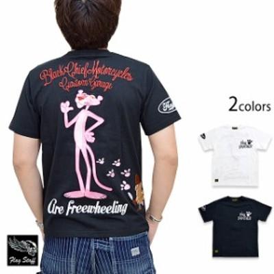 ピンクパンサーコラボ半袖Tシャツ Flagstaff 402021 フラッグスタッフ 刺繍 豹 ヒョウ バイカー