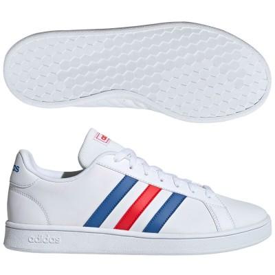 アディダス (adidas) GRANDCOURT BASE(ランニングホワイト×ブルー×アクティブレッド) EE7901 [分類:メンズファッション スニーカー ローカット]