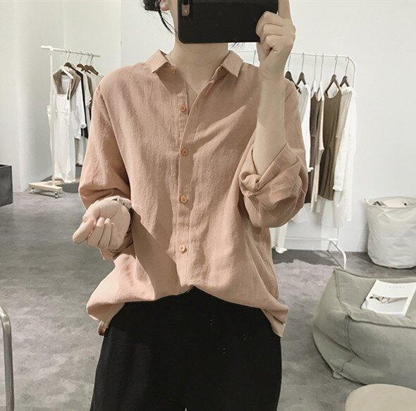 棉麻襯衫女式秋季寬鬆顯瘦簡約長袖韓版純色文藝基礎款小翻領上衣 快速出貨