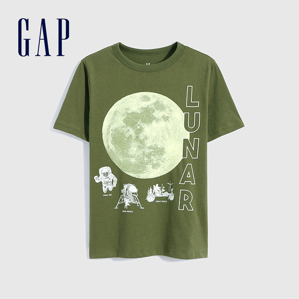 Gap男童 純棉創意印花短袖T恤 696619-綠色