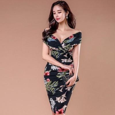 ワンピース ドレス セクシー キャバドレス オフショル 膝丈ワンピース パーティードレス Vネック セクシー 韓国 ファッション 花柄 スプリットドレス ta7090