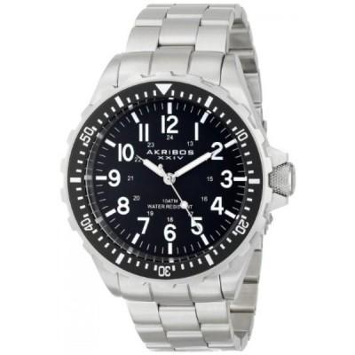 アクリボス XXIV 腕時計 メンズウォッチ Akribos XXIV Men's AK689BK Essential Swiss Quartz Black Dial Stainless Steel Bracelet Watch
