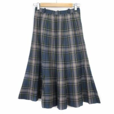 【中古】レリアン Leilian スカート フレア タック チェック ウール 9 青 ブルー レディース
