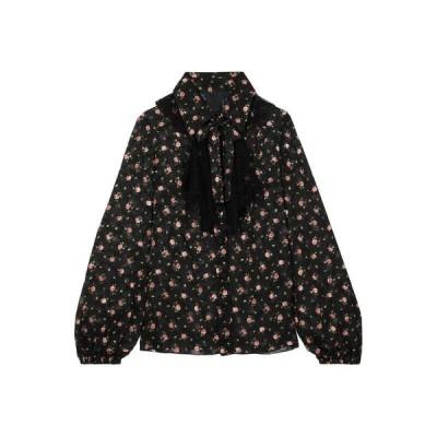 ANNA SUI フローラル柄シャツ&ブラウス  レディースファッション  トップス  シャツ、ブラウス  長袖 ブラック