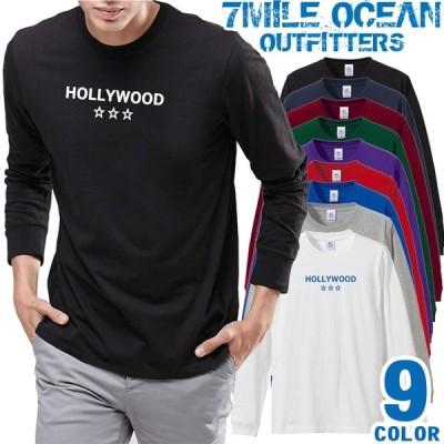 メンズ Tシャツ 長袖 ロングTシャツ ロンt プリント アメカジ 大きいサイズ 7MILE OCEAN ロゴ ワンポイント