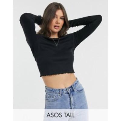 エイソス レディース シャツ トップス ASOS DESIGN Tall slim fit long sleeve crop top with lettuce edge in black Black