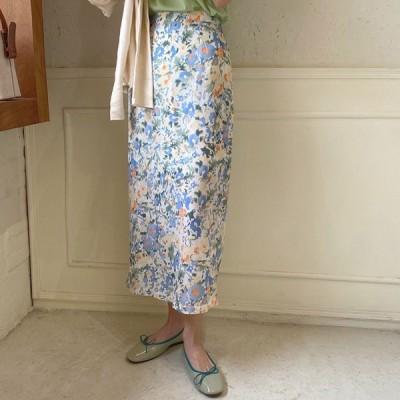 スカート 花柄 ロング タイト レディース 花柄スカート ロングスカート タイトスカート シフォン 緑 韓国ファッション メール便送料無料