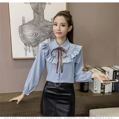 秋冬 かわいい トップス  襟付き 韓国スタイル オシャレ 可愛い キュート トレンド  韓国ファッション お出かけ シンプル リボン