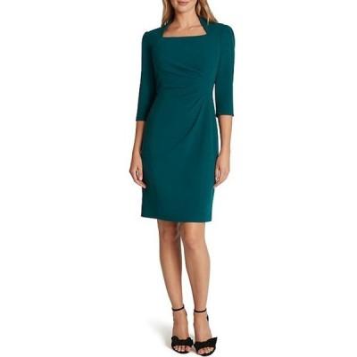 タハリエーエスエル  レディース ワンピース トップス Square Neck 3/4 Sleeve Side Ruched Stretch Crepe Sheath Dress
