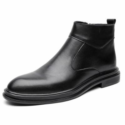 ブーツ ビジネスシューズ チェルシーブーツ サイドゴア ブーツ メンズ 革靴ハイカット 本革 紳士靴 メンズ サイドジップ おしゃれ ブラック