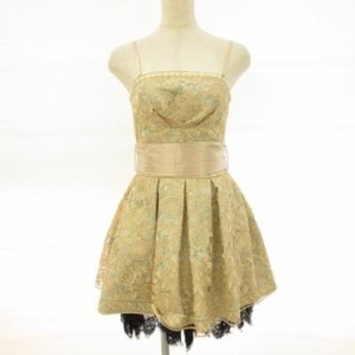 【中古】ランゲージ ベアワンピース ドレス ミニ フレア レース 刺繍 ゴールド ミントグリーン 36 レディース