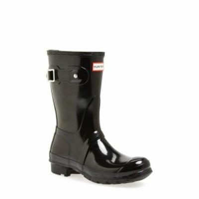 ハンター HUNTER レディース レインシューズ・長靴 シューズ・靴 Original Short Gloss Waterproof Rain Boot Black