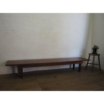 タU829◆(3)天板W182cm×D39cm◆折り畳み式の大きな古い木製ローテーブル◆デスク展示台店舗什器レトロビンテージH笹4