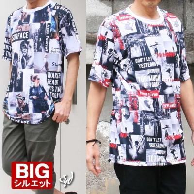 半袖Tシャツ フォトプリント メンズ プリントT ビッグシルエット 大きいサイズ 上品 おしゃれ 大人 夏T イタリアン 40代 50代