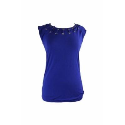 ファッション トップス Inc International Concepts Blue Cap-Sleeve Grommet-Trim Top XS