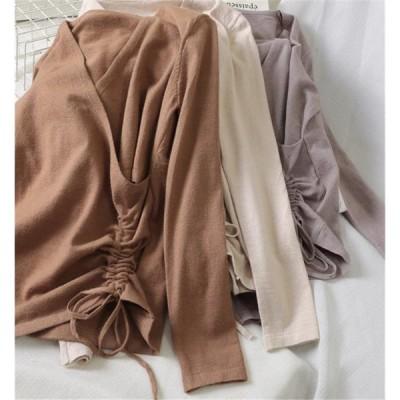 とてもファッション 大人気 新品 Vネック 長袖 ニットトップス イレギュラー Tシャツ トップス