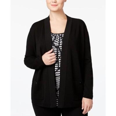 アン クライン Anne Klein レディース カーディガン 大きいサイズ トップス Plus Size Open-Front Cardigan Black