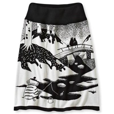 スカート ムーミンと仲間たち 雪の日柄のインナーパンツ付きニットスカート