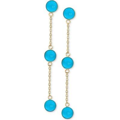 エフィー EFFY Collection ユニセックス イヤリング・ピアス ドロップピアス EFFY Turquoise (5mm) Drop Earrings in 14k Gold Yellow Gold