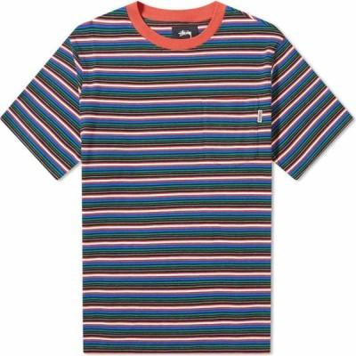 ステューシー Stussy メンズ Tシャツ トップス Mini Stripe Crew Red