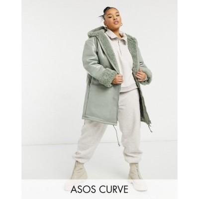 エイソス ASOS Curve レディース レザージャケット アウター Curve leather look parka with borg lining in sage セージ