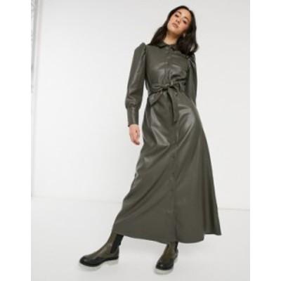 エイソス レディース ワンピース トップス ASOS DESIGN Leather look maxi shirt dress in olive Olive