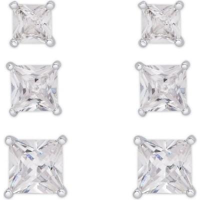 メイシーズ Macy's ユニセックス イヤリング・ピアス Cubic Zirconia 3-Pc. Set Graduated Round Stud Earrings in Fine Silver Plate Silver