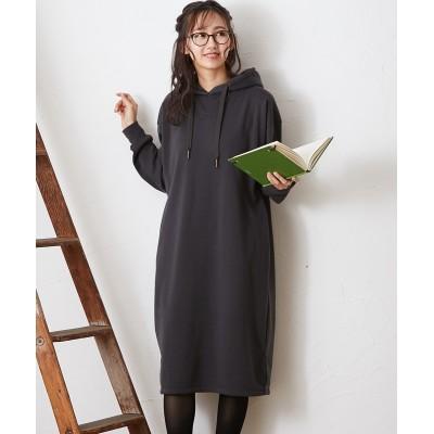 【裏起毛】ゆったりIライン パーカーワンピース (ワンピース)Dress