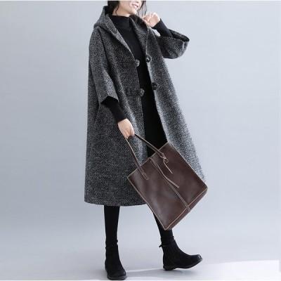 レディース コート 七分袖フレアロングコート フード ポンチョ カジュアル ロング丈 ひざ丈 大きいサイズ アウター