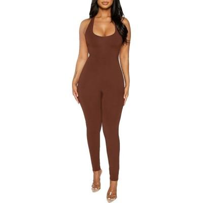 ネイキッドワードローブ Naked Wardrobe レディース オールインワン ジャンプスーツ ワンピース・ドレス The NW Racerback Jumpsuit Chocolate