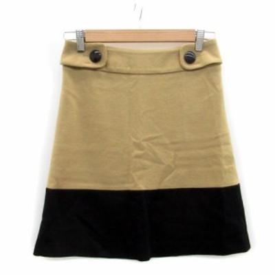 【中古】イネド INED スカート 台形 フレア ミニ丈 ウール 9 ブラウン 茶色 /MS26 レディース