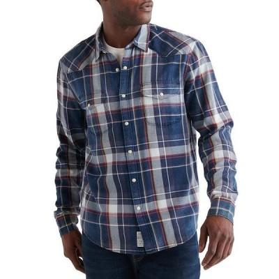 ラッキーブランド メンズ シャツ トップス Plaid Santa Fe Western Long-Sleeve Shirt Blue Plaid