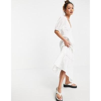 エイソス レディース ワンピース トップス ASOS DESIGN broderie shirred waist lace insert maxi in white White
