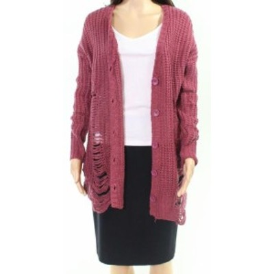 ファッション トップス Derek Heart NEW Purple Womens Size Medium M Distressed Cardigan