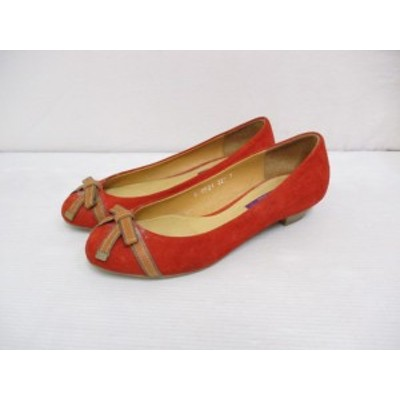 【中古】ババラ BABARA スエード リボン パンプス 22.5 赤 レッド 靴 シューズ レディース