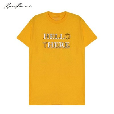 BRIU HOMME (ブリウ オム) HELL HERE/HELLO THERE T-SHIRT (MUSTARD) Tシャツ/カットソー/UNISEX マスタード